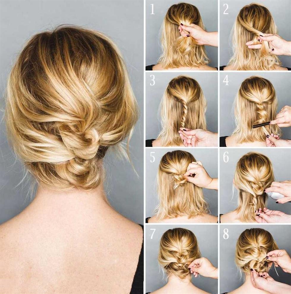 Einfache Brötchen Frisuren fur geschwungenes Mittellange Haar