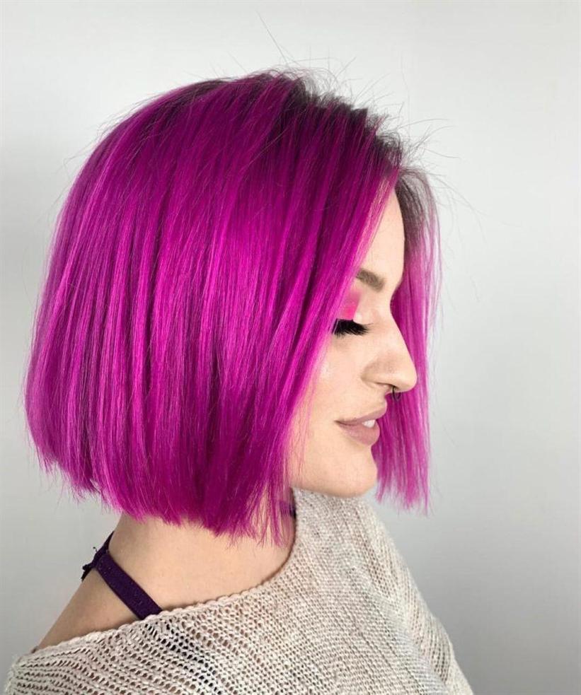 Haarfarben Lila fur Bob Frisuren